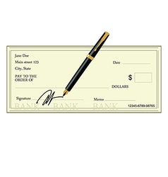 Bank check and pen vector image