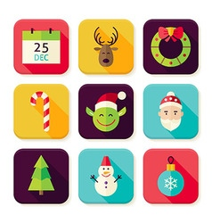 Merry christmas new year square app icons set vector