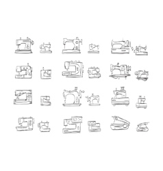 Sketch icons collection for sewing machine vector