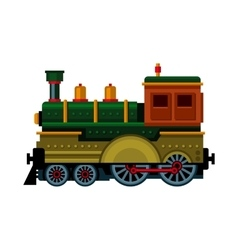 Retro train steam locomotive icon vector