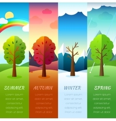 Weather seasons icons on nature ecology background vector image