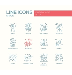 The space - line design icons set vector