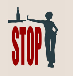 a young woman show stop gesture vector image