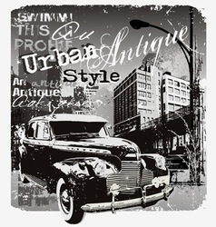 Antique car urban style vector