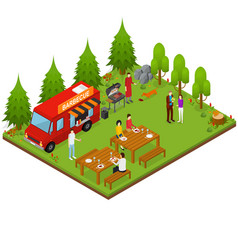 Bbq isometric view vector
