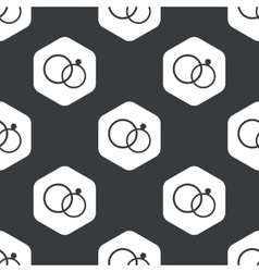 Black hexagon wedding rings pattern vector
