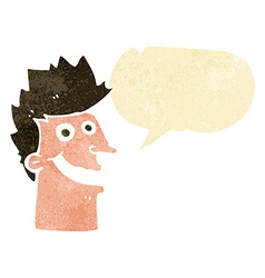 cartoon happy man face with speech bubble vector image vector image