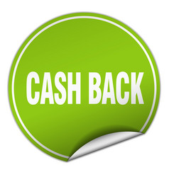 Cash back round green sticker isolated on white vector