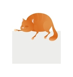 Cute cat sleeping on blank platform enjoying life vector