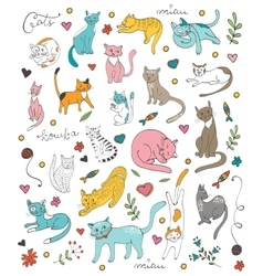 Cute colorful set of hand drawn cats vector