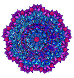 Detailed ornamental mandala ona in a purple and vector