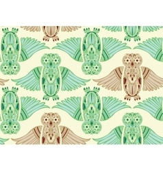 Hand-Drawn Owl in abstract pattern vector image vector image