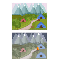 high mountains camping background  day and vector image vector image