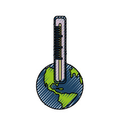 Isolated care planet thermometer vector