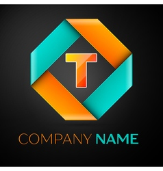 Letter t logo symbol in the colorful rhombus on vector