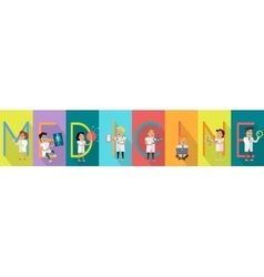 Medicine science banner human characters in gowns vector