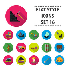 Mine set icons in flat style big collection mine vector