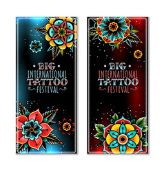 old school tattoo flowers vector image