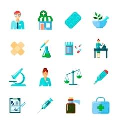 Pharmacist icon flat set vector