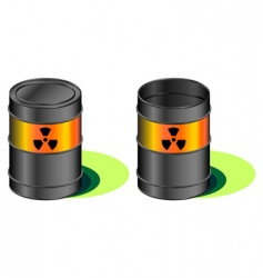 radioactive barrels with leak vector image
