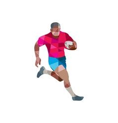 Rugby player running side low polygon vector