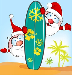 santa claus cartoon with surfboard vector image vector image