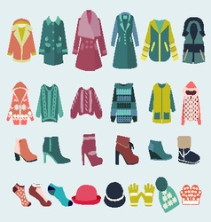 set icon of winter clothes and accessories vector image vector image