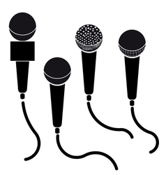 Set of microphones black silhouette isolated on vector image