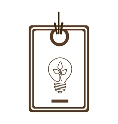 Silhouette price tag of light bulb with leaf vector