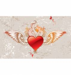 vintage winged heart vector image vector image