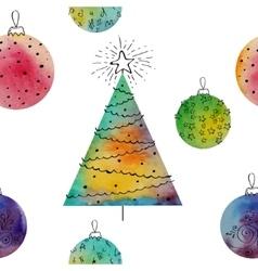 Watercolor balls and christmas tree vector