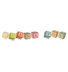 Word thank you written with alphabet blocks vector