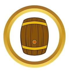 Wooden barrel of beer icon cartoon style vector image