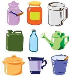 Household containers set vector