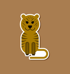 paper sticker on stylish background cartoon tiger vector image