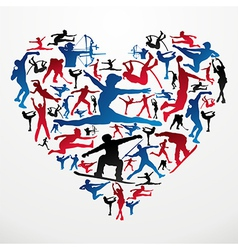 Sports silhouettes heart vector