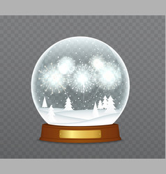 Christmas snow globe with fireworks snowbound vector