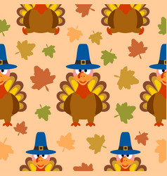 Thanksgiving seamless background with turkey vector