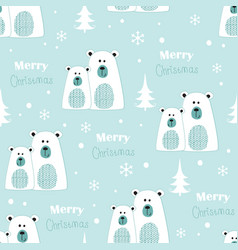 Seamless pattern with polar bears vector