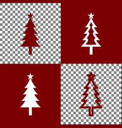 New year tree sign  bordo and white icons vector
