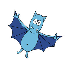 Funny cartoon bat isolated on white background vector