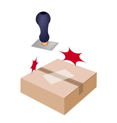 Rubber stamp with a brown cardboard box vector