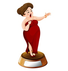 A fat girl with a red dress vector image