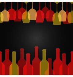 Wine glass bottle art design background vector