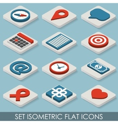 Flat set isometric icons vector