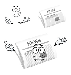 Cartoon happy newspaper icon character vector