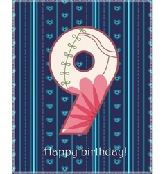 Happy birthday nine card vector