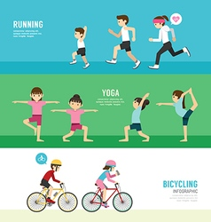 Sports design health concept people exercise set vector