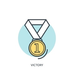 Flat gold lined medal icon vector