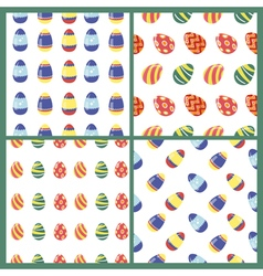 Happy easter seamless patterns set with eggs vector